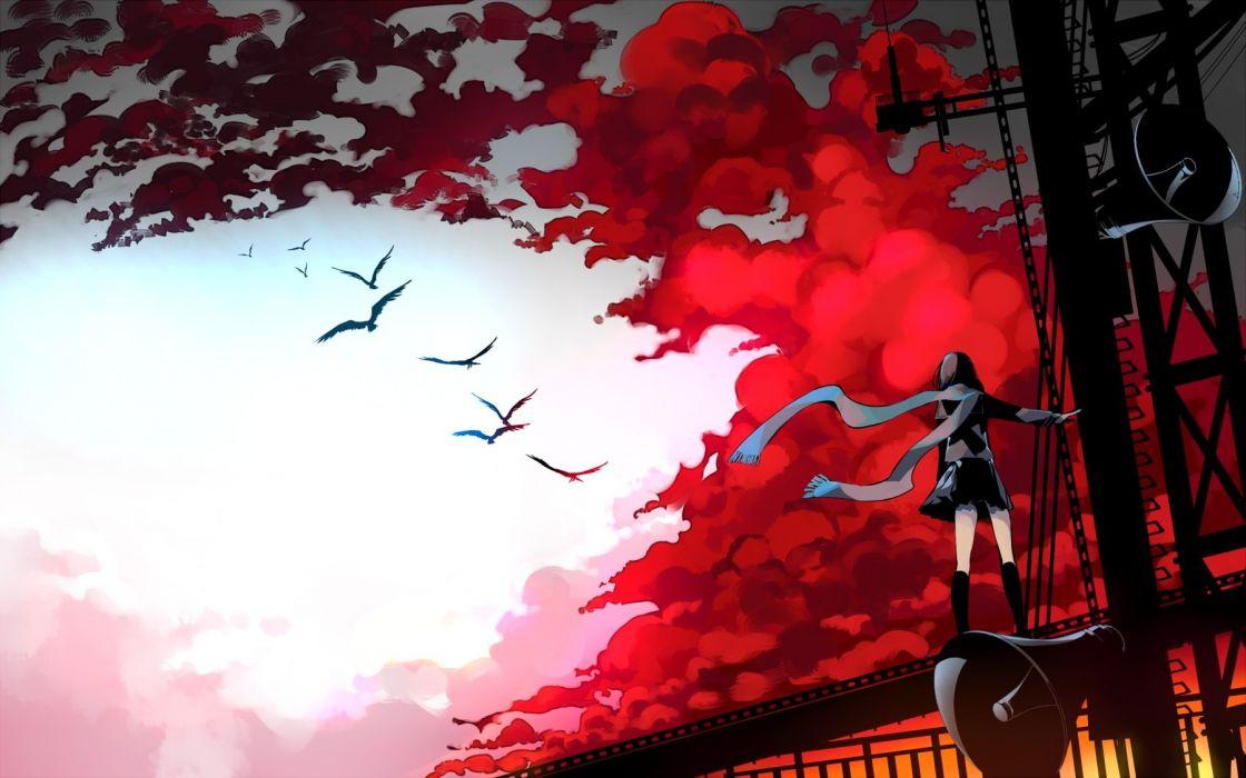 animal bird clouds kagerou project kneehighs scarf seifuku sennro skirt sky tateyama ayano wallpaper
