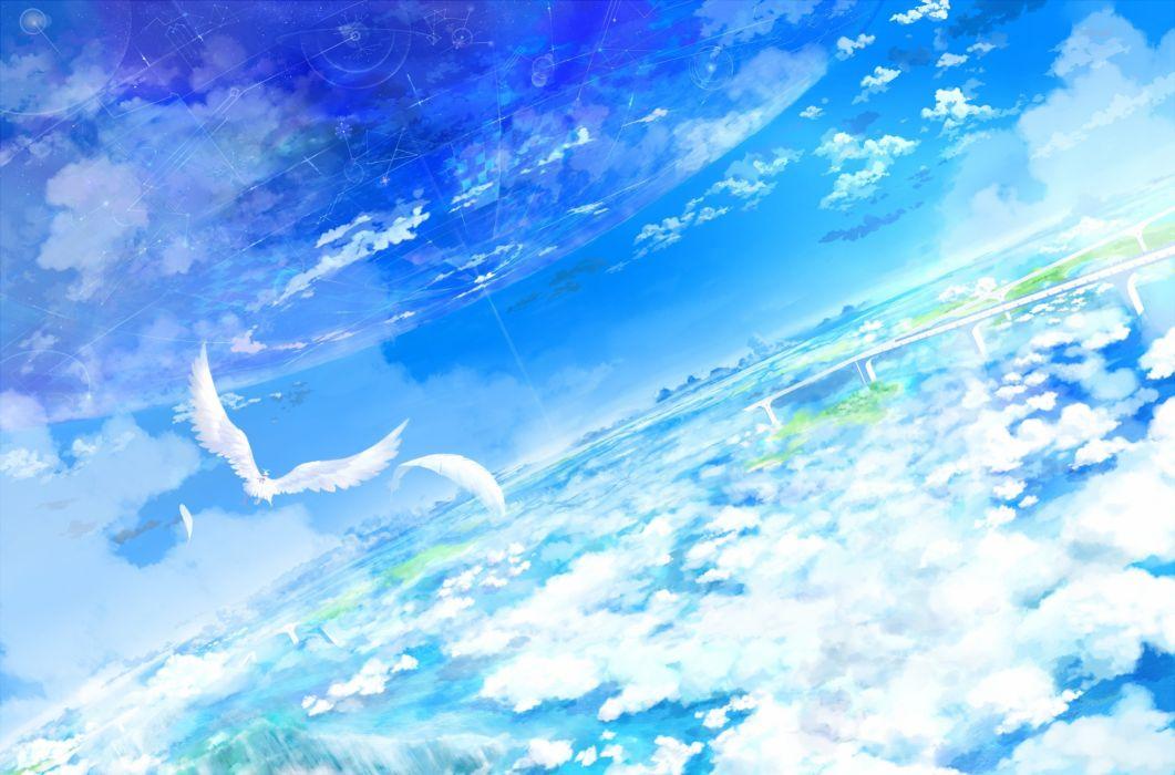 animal bird clouds feathers nobody original scenic sky yatsude wallpaper