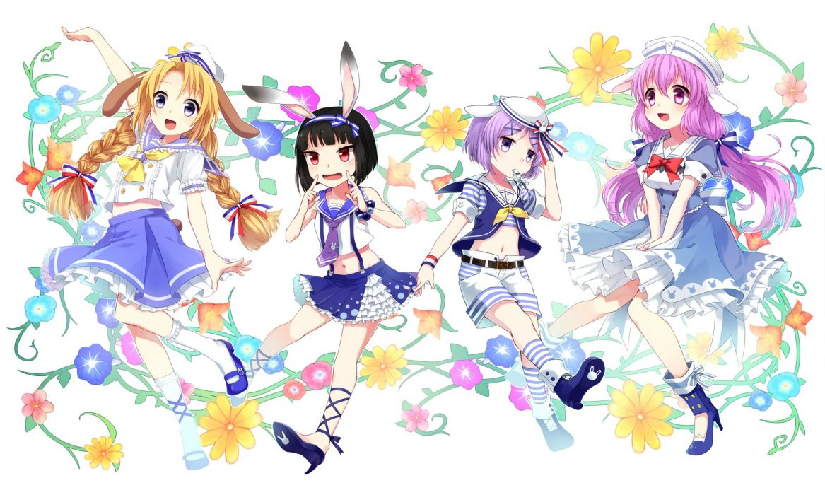 animal ears black hair blue eyes bow bunny ears bunnygirl dress flowers hat long hair navel original purple hair red eyes short hair shorts skirt wallpaper