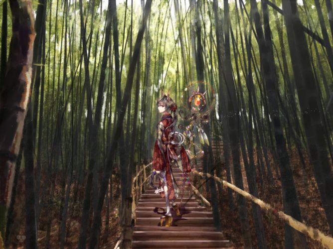animal ears forest japanese clothes kimono nadinehuifu original socks staff tree wallpaper