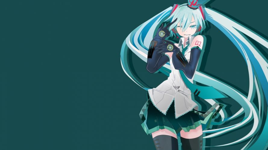 aqua eyes aqua hair crown gloves hatsune miku long hair skirt tansuke tattoo thighhighs tie twintails vector vocaloid wink zettai ryouiki wallpaper