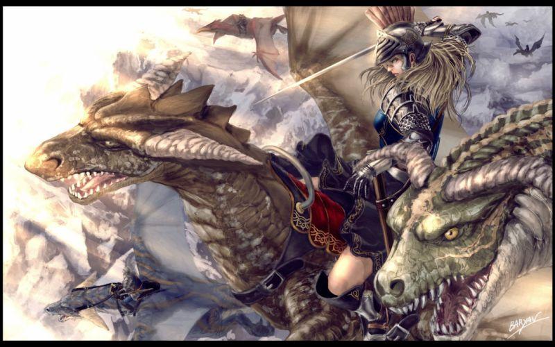 armor baryan blonde hair blue eyes boots dragon long hair original signed sword weapon wallpaper