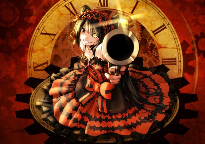 bicolored eyes bow date a live dress goth-loli gun headdress lolita fashion red eyes sen ya tokisaki kurumi weapon yellow eyes wallpaper