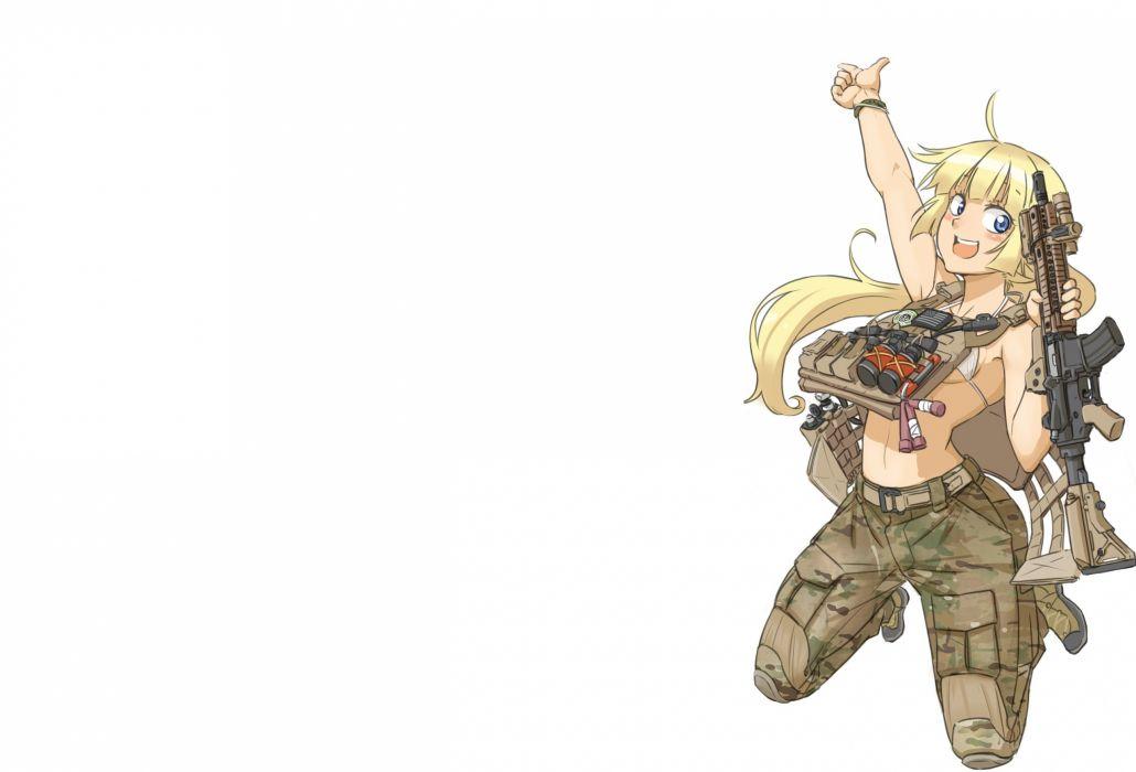 bikini top blonde hair blue eyes boots gun long hair original ponytail shino (r shughart) weapon white wristwear wallpaper