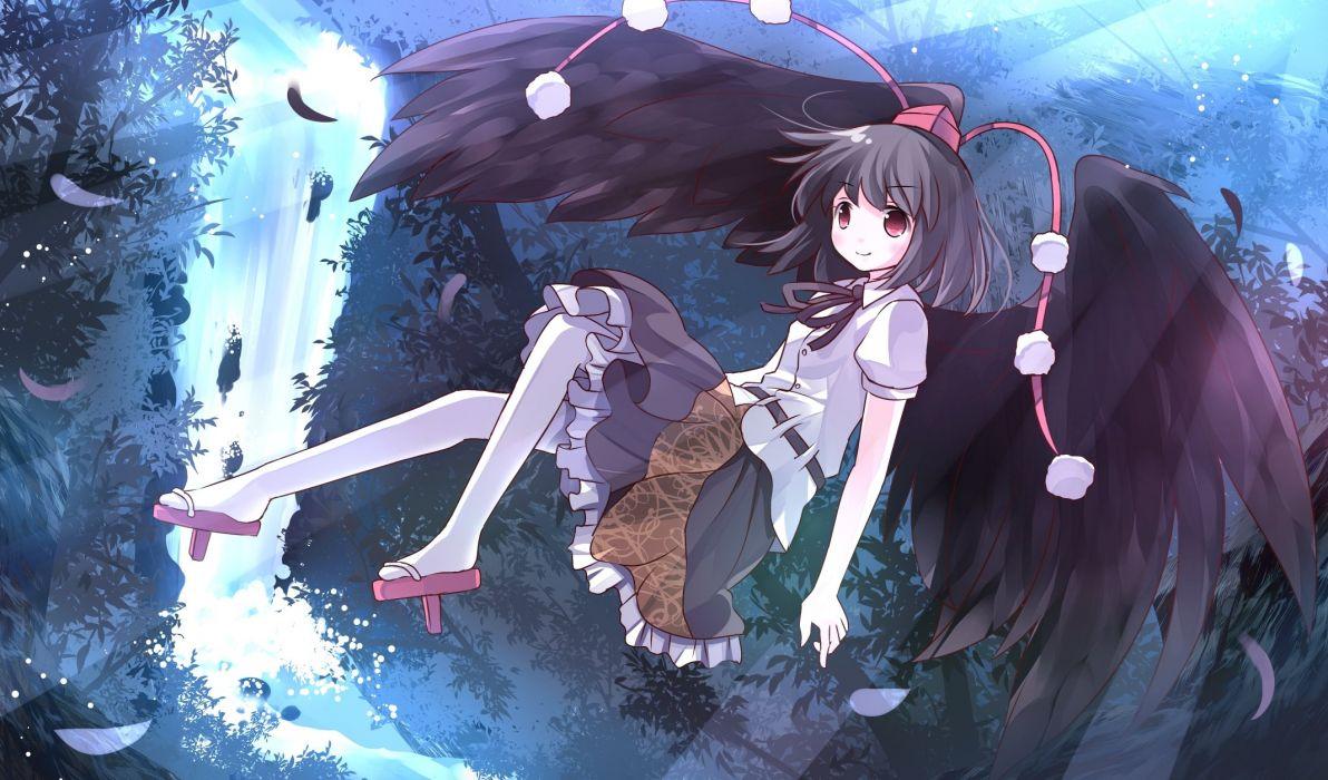 black hair feathers hat pantyhose red eyes ribbons risutaru shameimaru aya short hair skirt touhou wings wallpaper