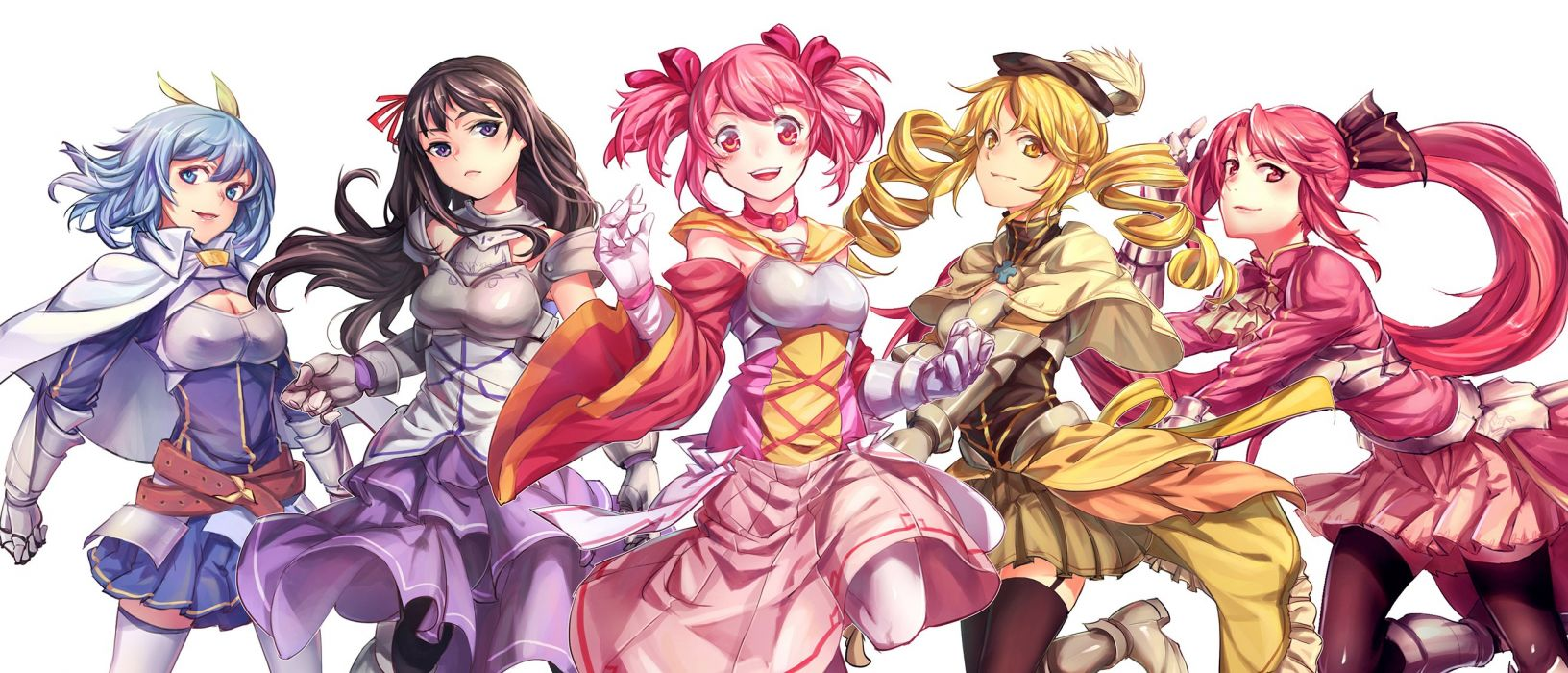 blue eyes blue hair boots cape choker gloves group hat headband long hair pink hair ponytail red eyes red hair skirt thighhighs tomoe mami twintails wallpaper