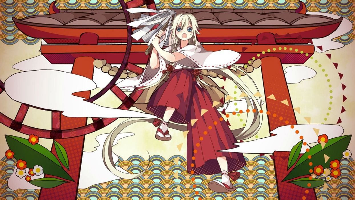 em (bycle) ia japanese clothes miko torii vocaloid wallpaper