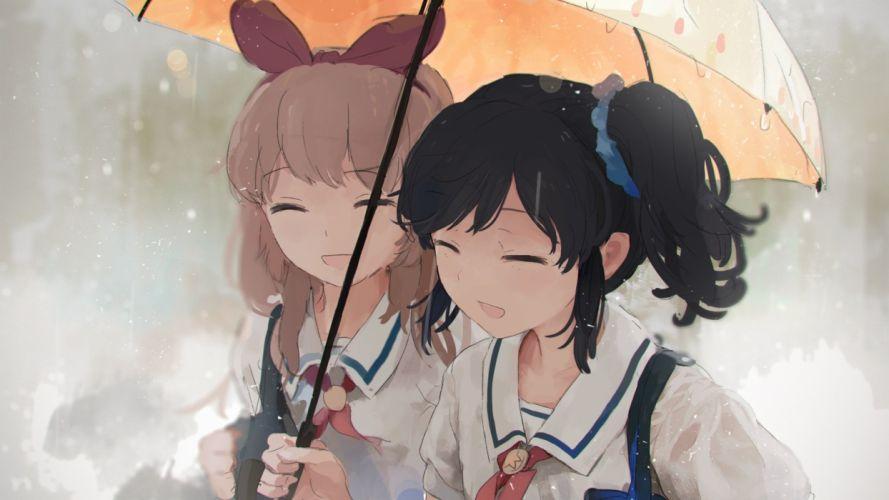 girls black hair brown hair imago original seifuku umbrella wallpaper