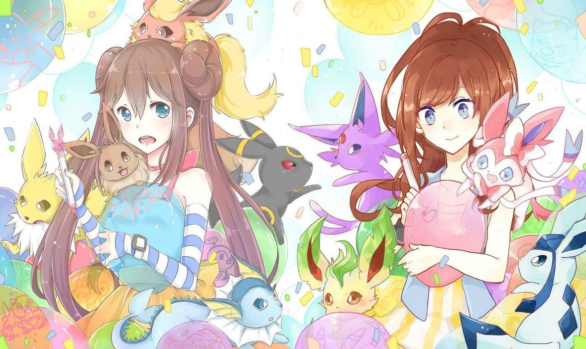 girls blue eyes brown hair eevee espeon flareon glaceon hsiao jolteon leafeon mei (pokemon) mo (k40633) pokemon sylveon umbreon vaporeon wallpaper