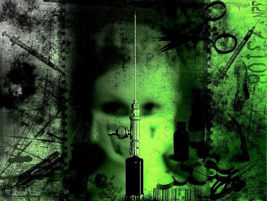 drugs needle blood gothic fetish evil horror wallpaper