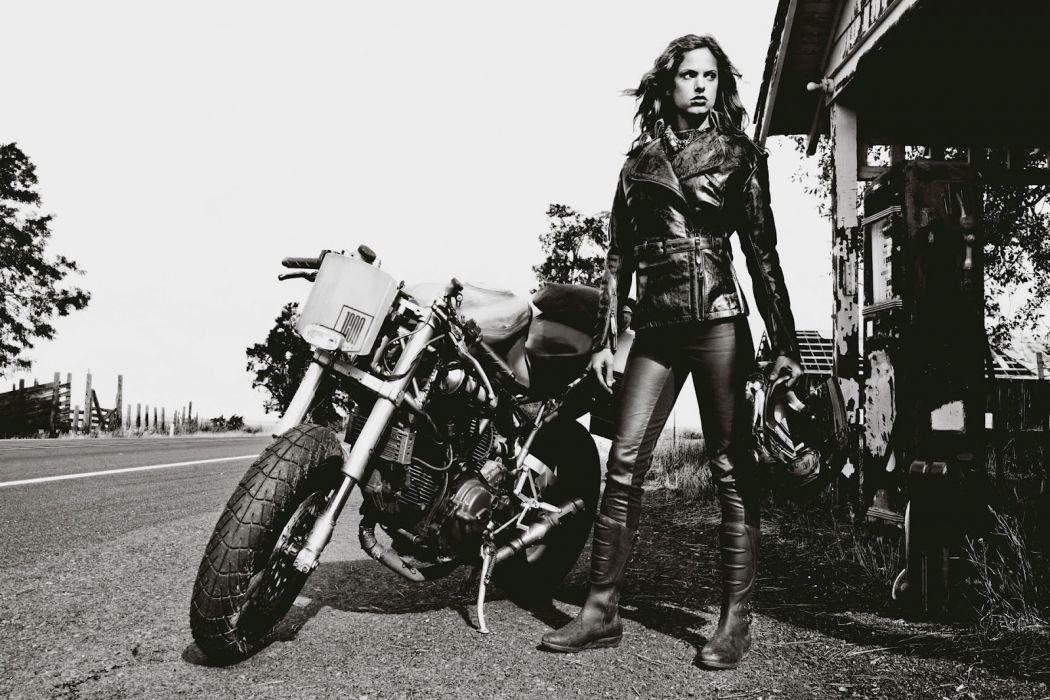 babe sexy model chopper bike leather wallpaper