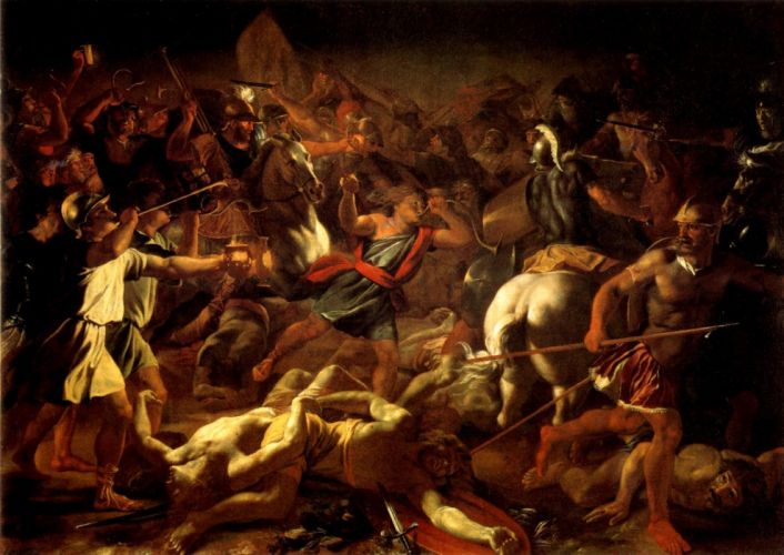 French Baroque Classical Art battle of gideon painting artwork art wallpaper