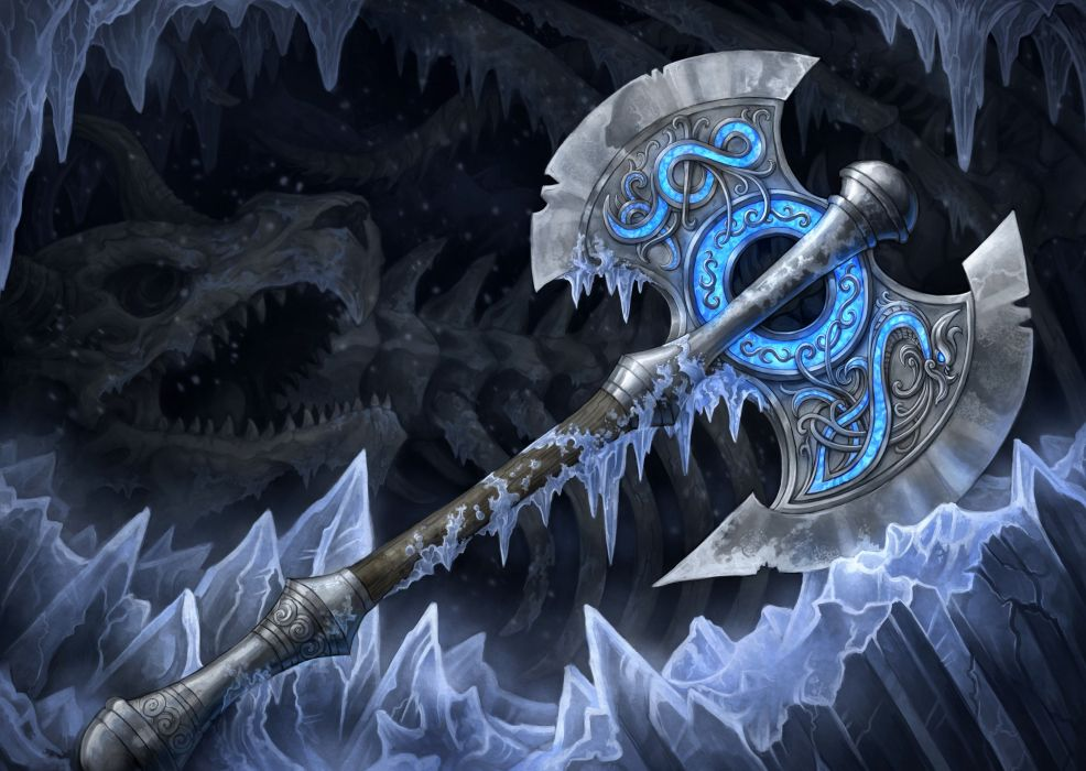 Closeup Battle Axe Fantasy Weapon Sword Wallpaper 5176x3675