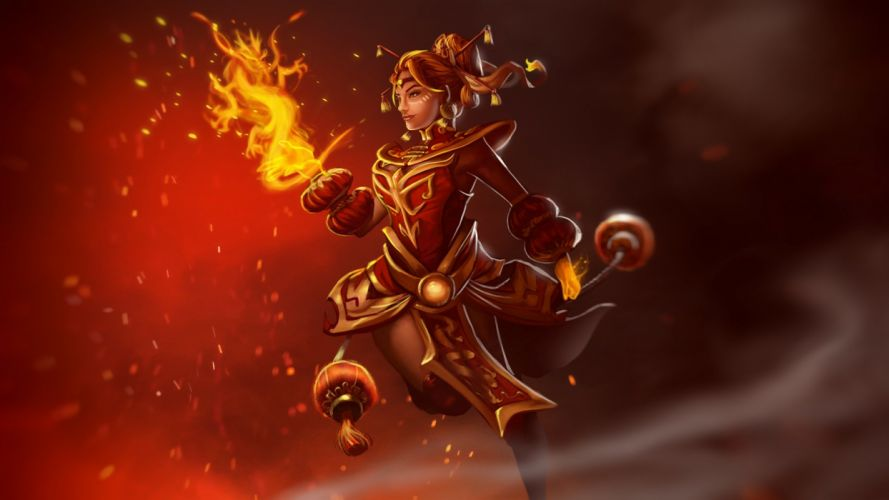 DOTA 2 Fire Magic Lina Ember Crane Games Fantasy Girls wallpaper