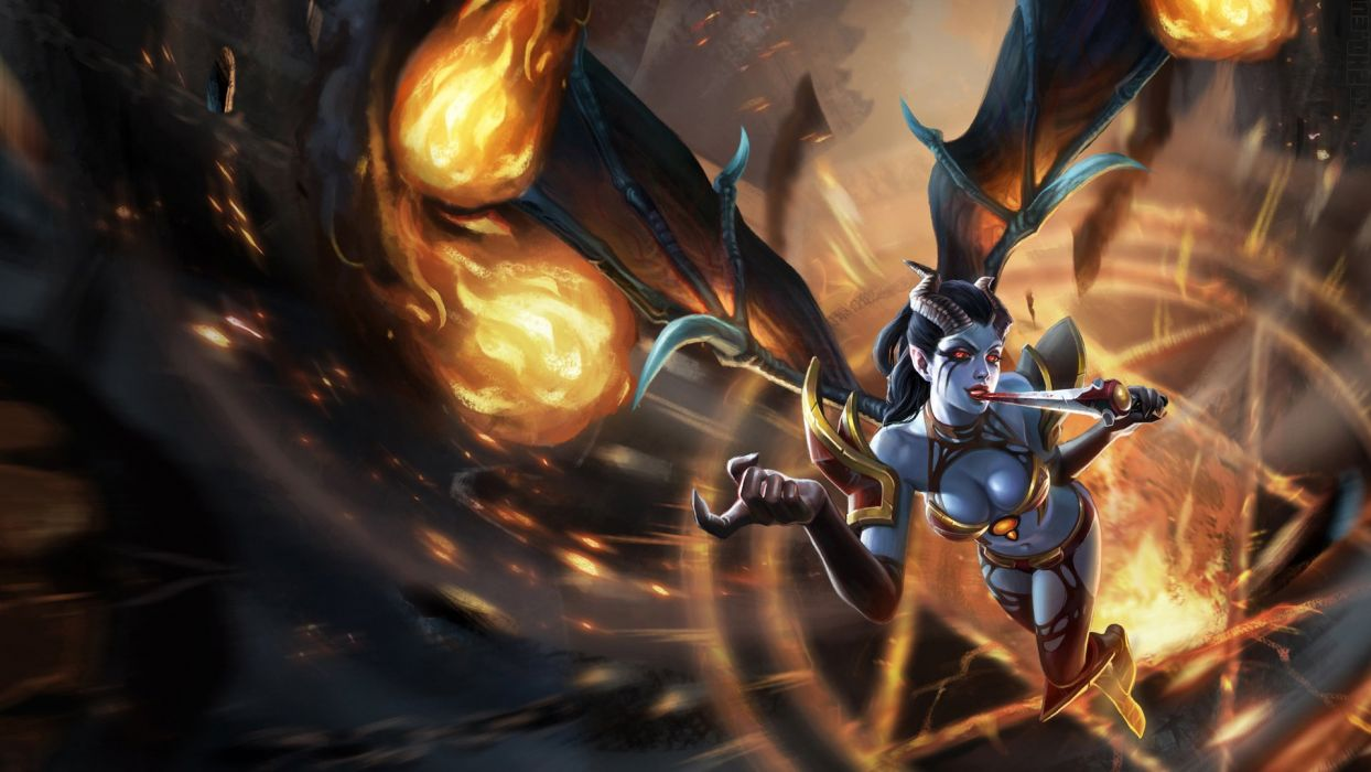 DOTA ( Defense of the Ancients ) Fire Supernatural beings Queen of Pain Horns Wings Games Fantasy wallpaper