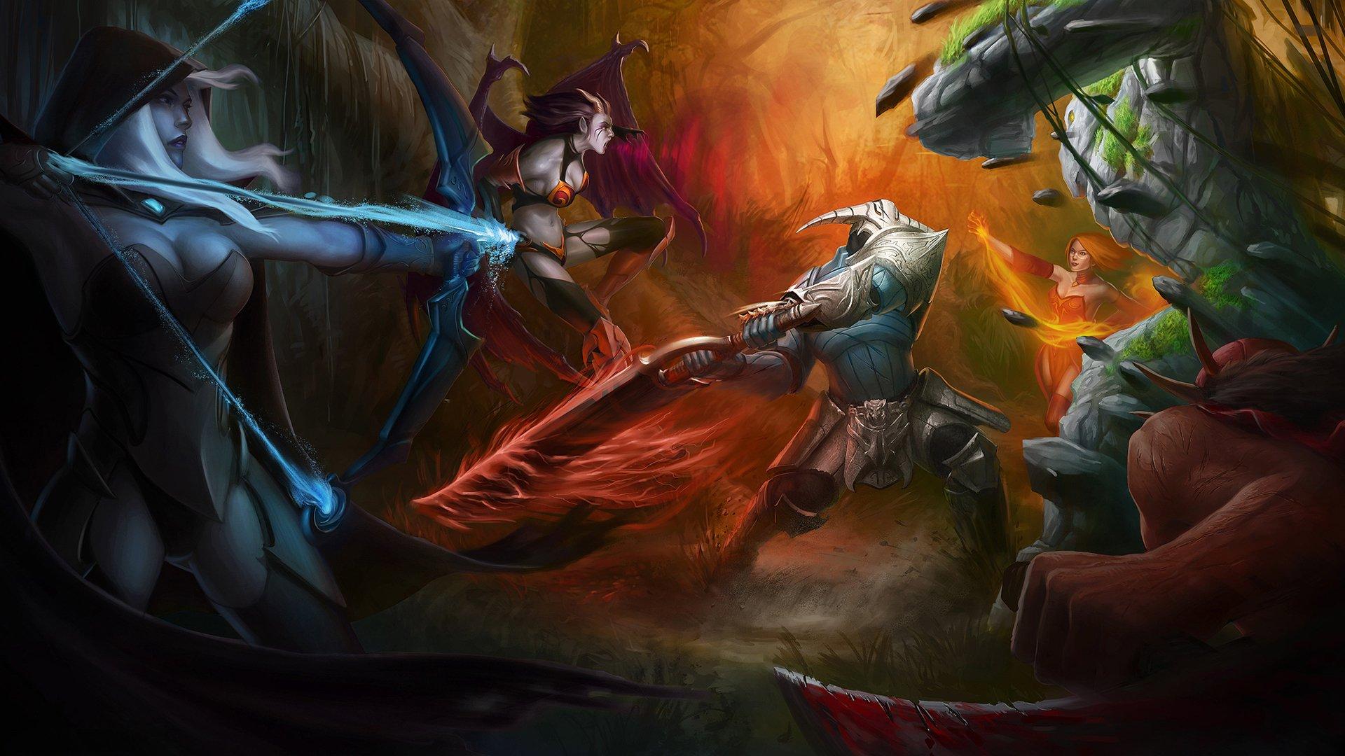 Dota 2 Battle Warrior Monster Sven Drow Ranger Lina Bloodseeker