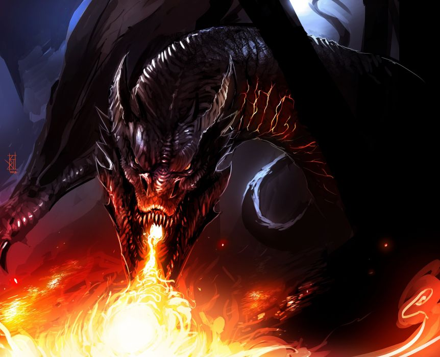 Dragon Fire Smaug The Hobbit Fantasy lotr lord rings wallpaper
