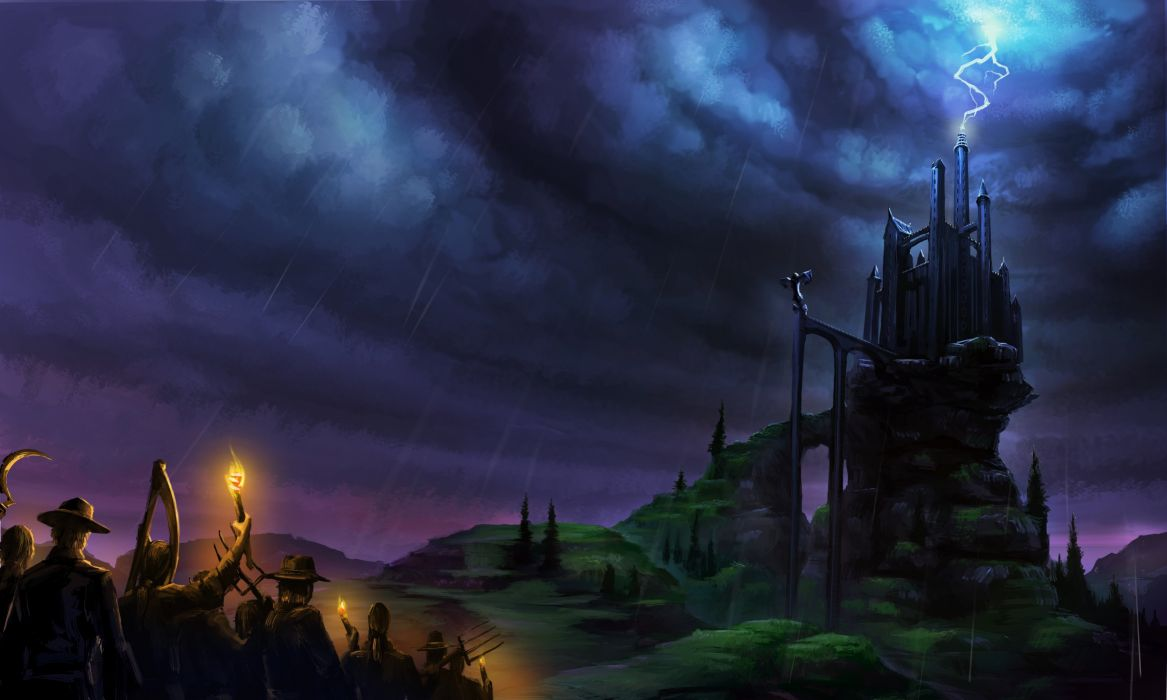 fantastic world castle rain frankenstein lightning clouds fantasy halloween wallpaper