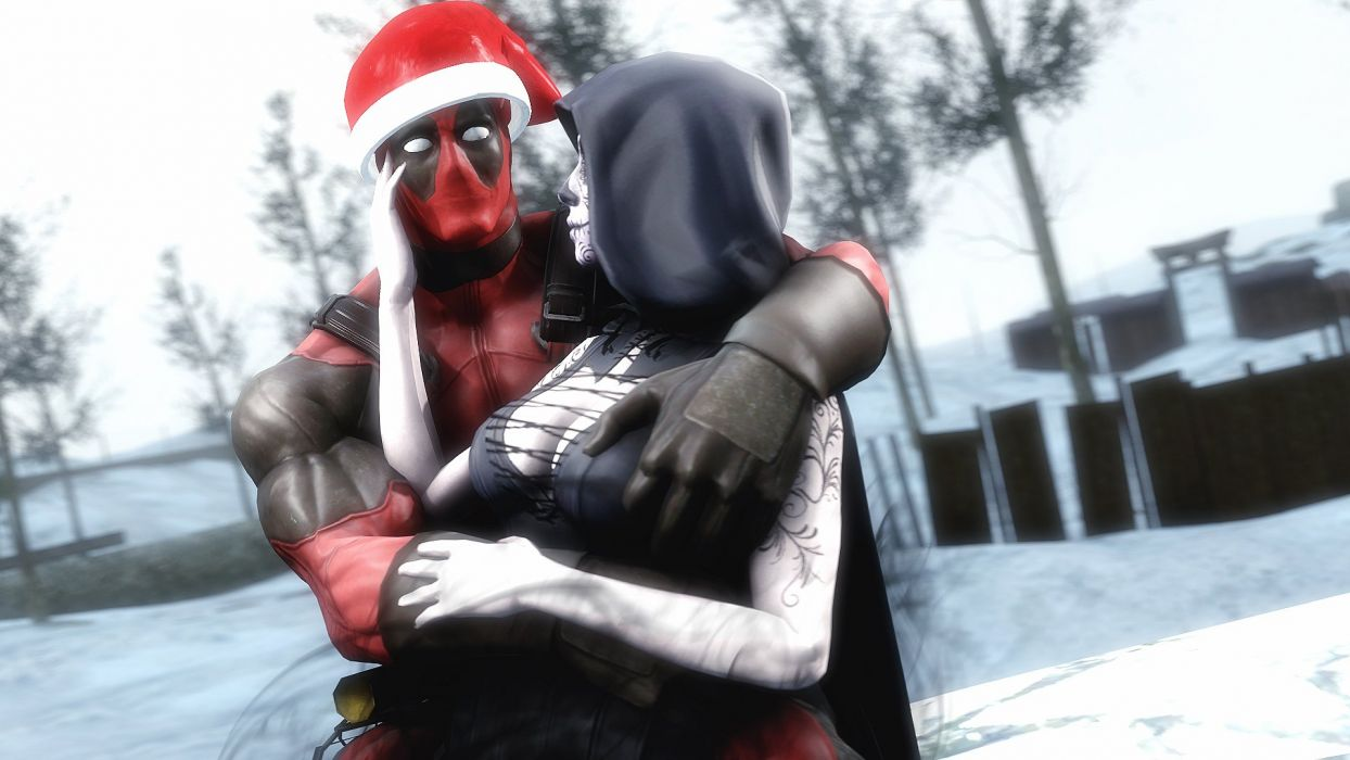 Heroes comics Winter hat Hood headgear Two Hug deadpool comics superhero christmas sexy babe wallpaper