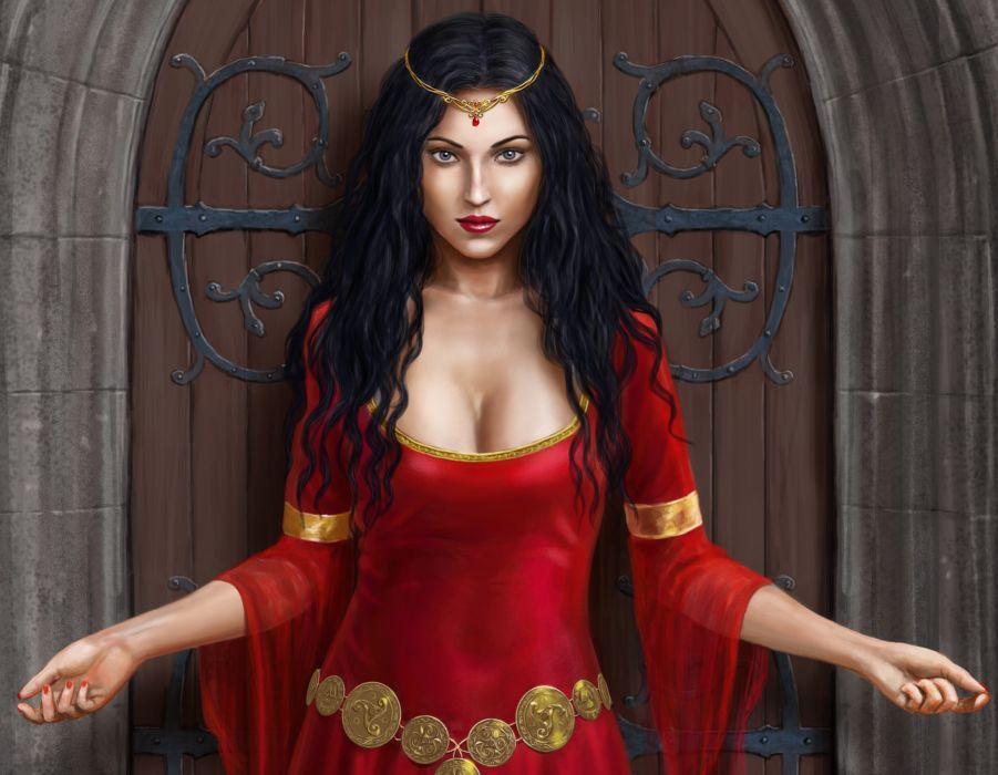 Illustrations to books Lady Isadora Harbinger Chronicles Brunette girl Dress Glance Fantasy Girls babe breast wallpaper