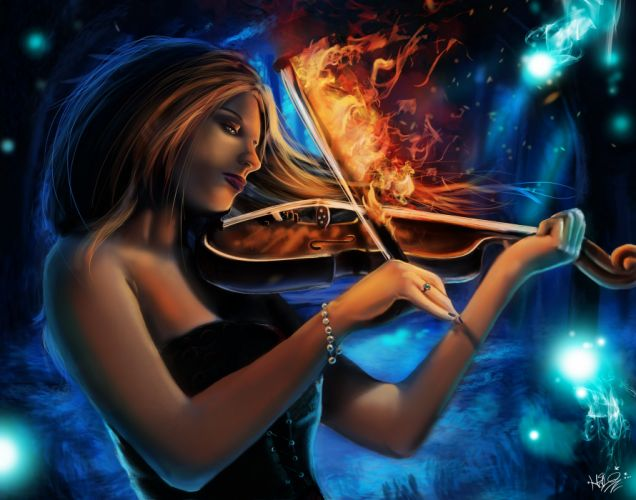 Magic Violin Fire Burning Lullaby Fantasy Girls fantasy music wallpaper