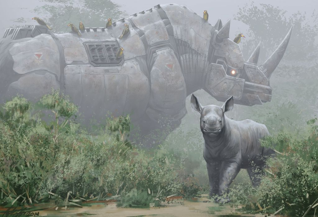 Technics Rhinoceroses Robot Fantasy rhino sci-fi baby wallpaper