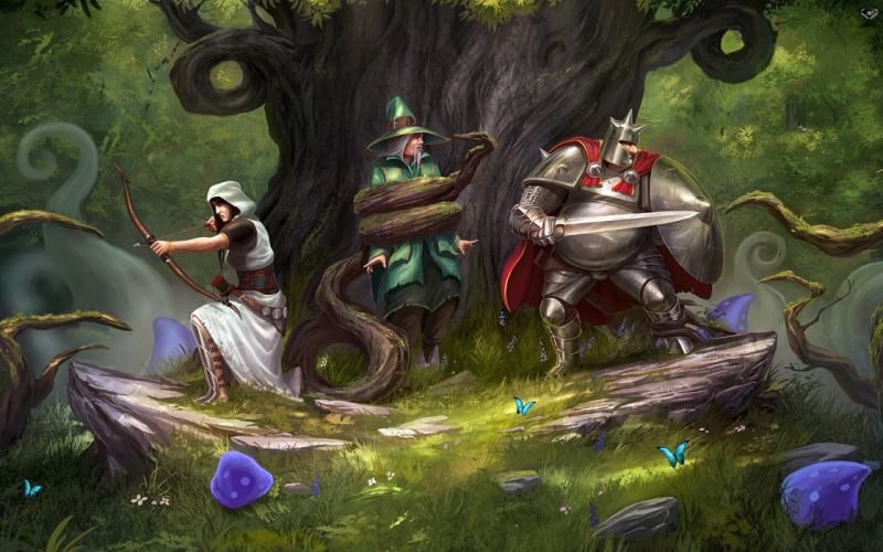 Trine Archer Magic Warrior Zoya Amadeus Pontius Armor Game Fantasy wallpaper