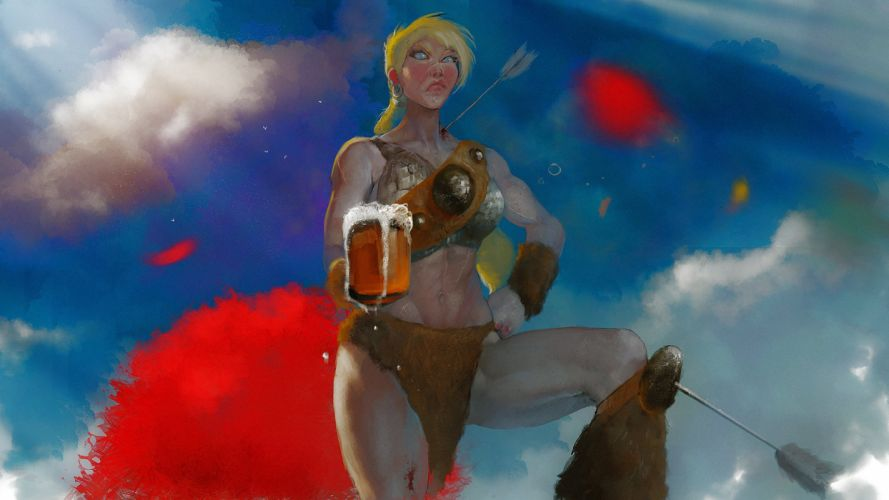 Warrior Beer Mug Fantasy Girls sexy babe alcohol wallpaper