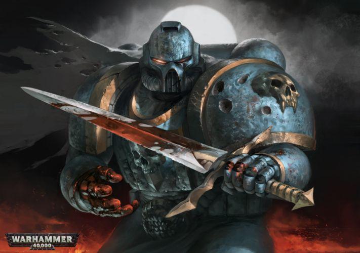 Warhammer 40000 Warrior Armor Helmet Sword Games Fantasy weapon sci-fi wallpaper