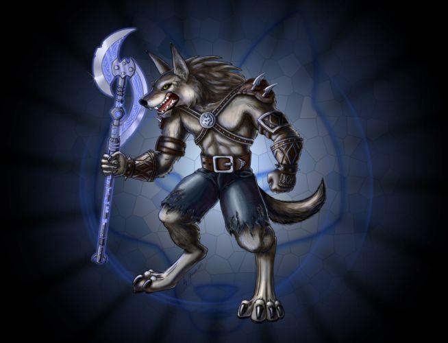 Warrior MonstersSupernatural beings Werewolf is a Battle axes Fantasy wolf wallpaper