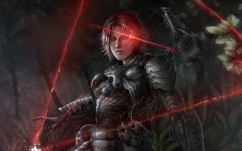 Warrior the girl in the armor auth Armor Fantasy Girls cyborg sci-fi wallpaper