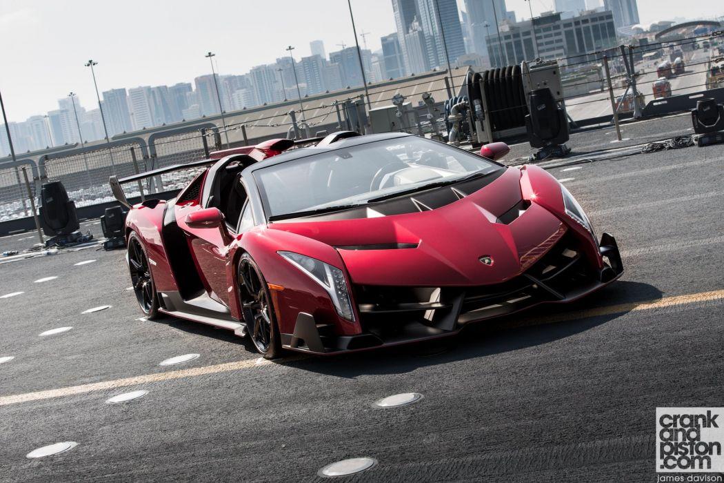 2014 Lamborghini roadster Supercar veneno rosso red italan wallpaper