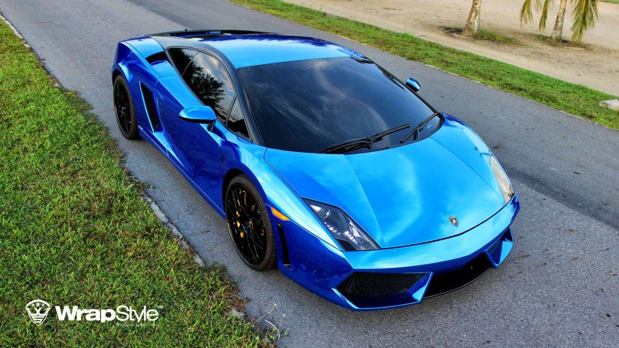 Lamborghini Gallardo Wrap Vinyl Chrome Blue Wallpaper 1920x1080