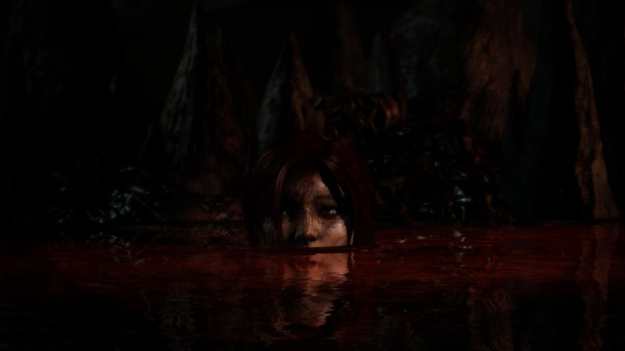 Lara Croft Tombraider Blood Scary wallpaper