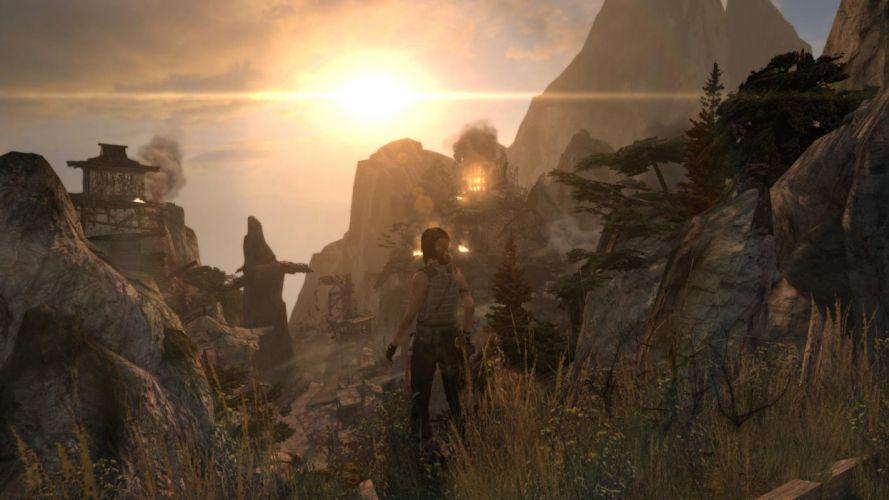 Lara Croft Tombraider Sun Mountains wallpaper