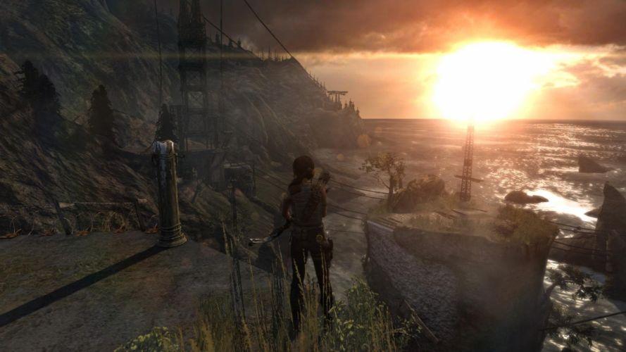Lara Croft Tombraider Sunset Ship Water Sea wallpaper