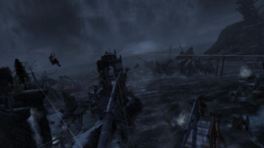Lara Croft Tombraider Night Water Riding wallpaper