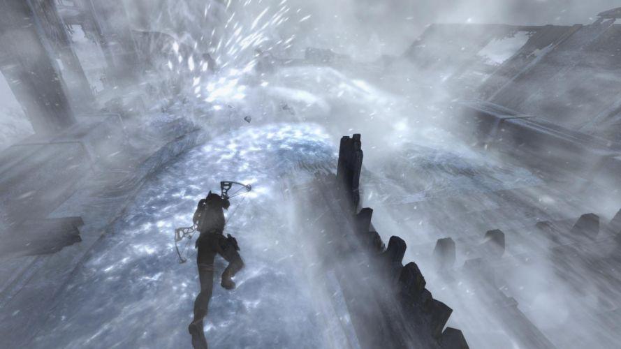 Lara Croft Tombraider Climbing Ice wallpaper