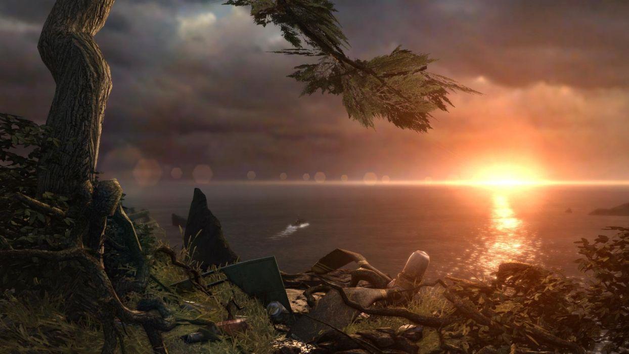 Lara Croft Tombraider Boat Sunset Water Sea wallpaper