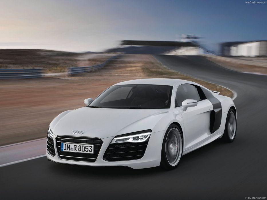 Audi R8 V10 2013 coupe supercars white wallpaper