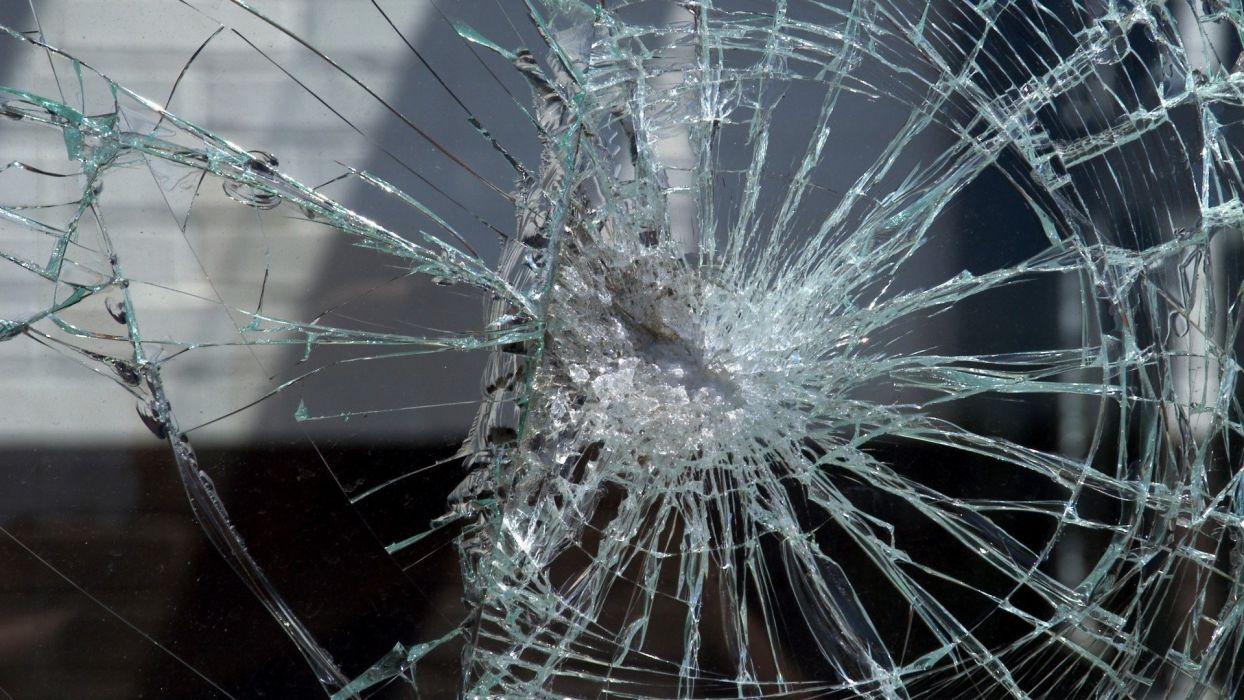 Glass Single Crack Broken glass shattered...