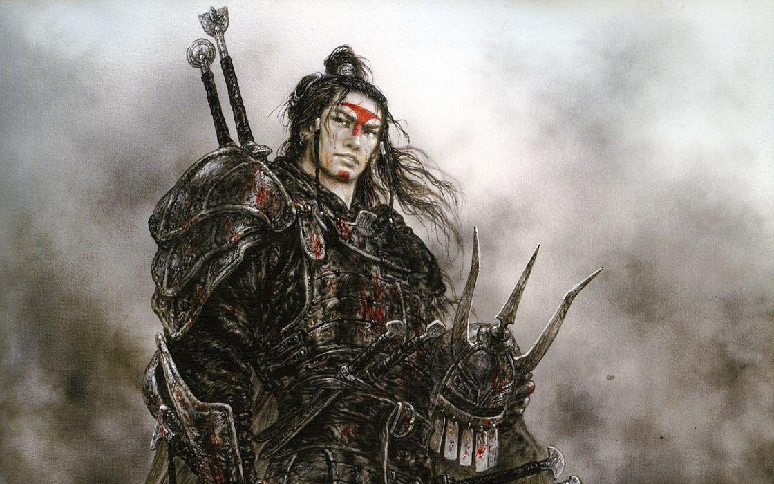 LUIS ROYO fantasy warrior painting art wallpaper