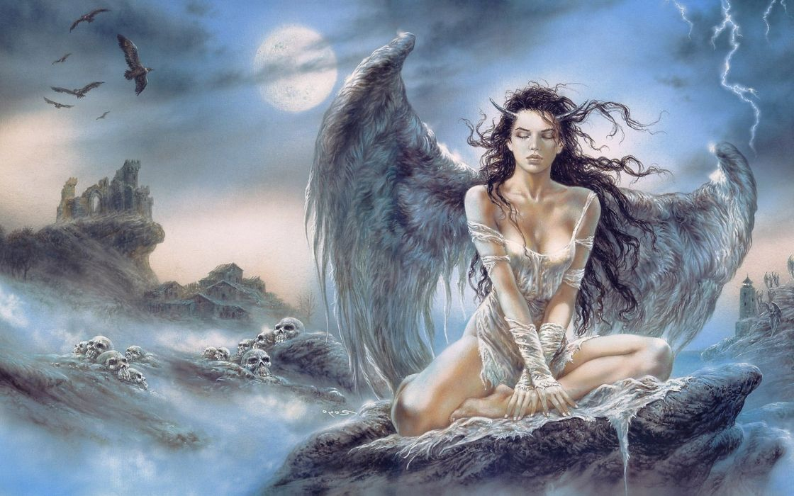 LUIS ROYO fantasy warrior painting art sexy babe wallpaper