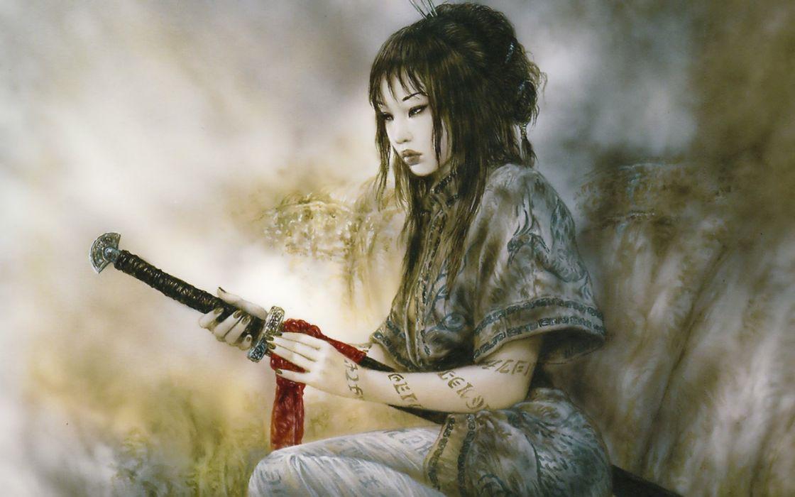 LUIS ROYO fantasy warrior painting art sexy babe wallpaper