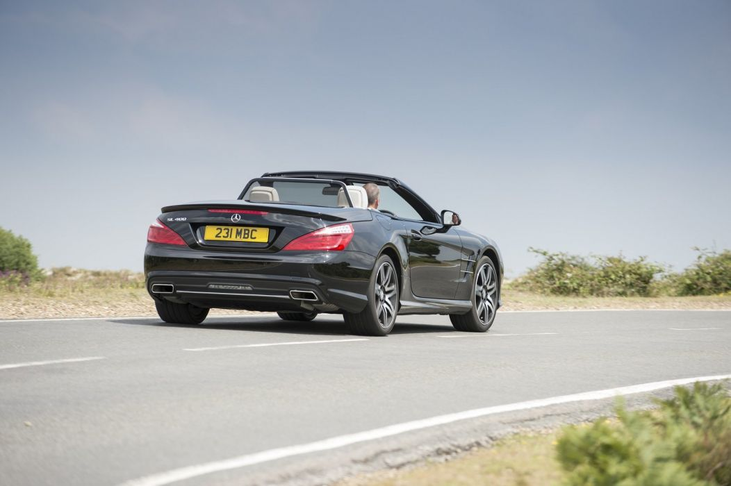 2014 Mercedes Benz SL-400 UK version convertible black nero noir dark wallpaper
