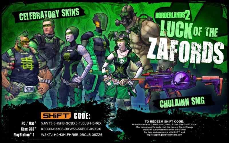 BORDERLANDS 2 Luck of the Zafords shooter sci-fi action rpg fantasy patricks wallpaper