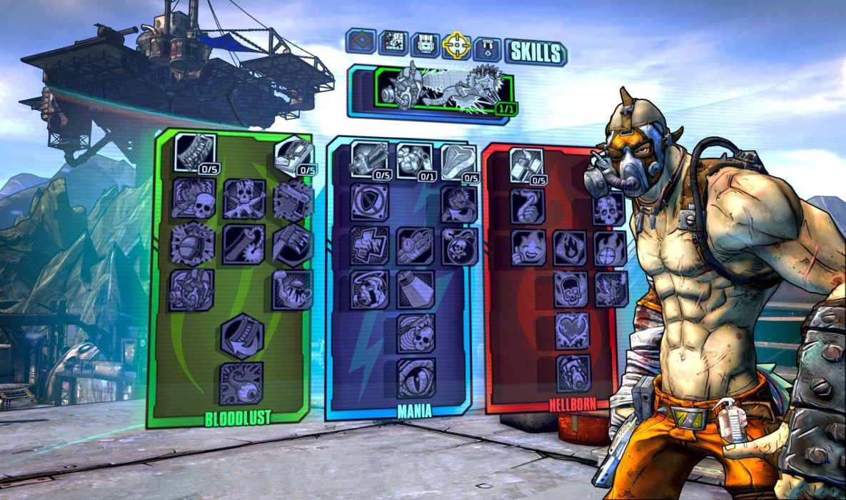 BORDERLANDS 2 Krieg the Psycho shooter sci-fi action rpg wallpaper