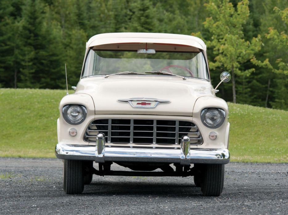 1955 Chevrolet 3100 Cameo Carrier Suburban Pickup (H255-3124) retro (3) wallpaper