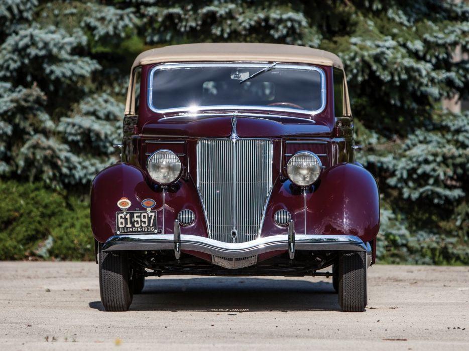 1936 Ford V-8 Club Cabriolet (68-760) retro convertible w wallpaper