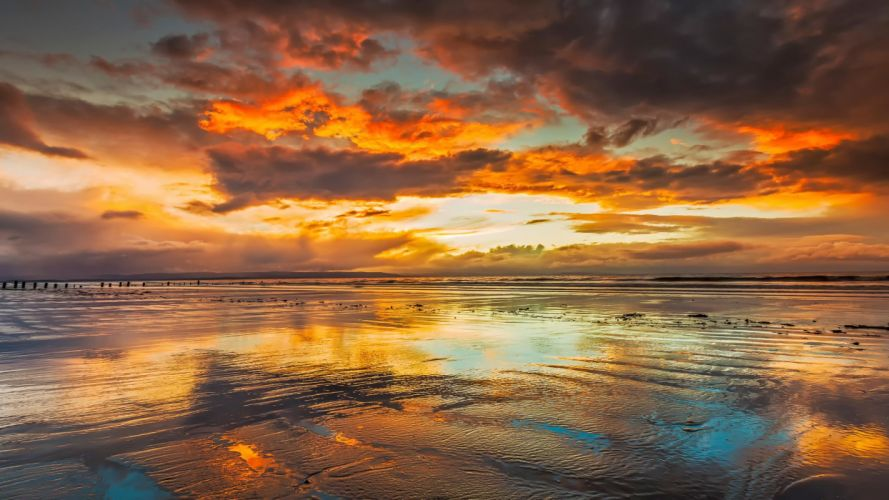 beach sky clouds reflection sea wallpaper